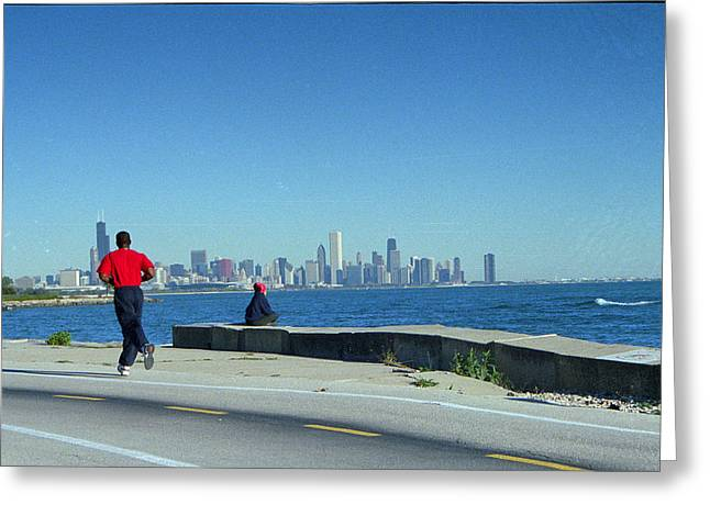 Chicago Lakefront Runner Greeting Card by Eric Miller