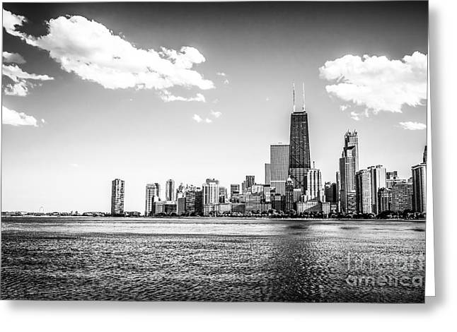 Chicago Lakefront Skyline Black And White Picture Greeting Card by Paul Velgos