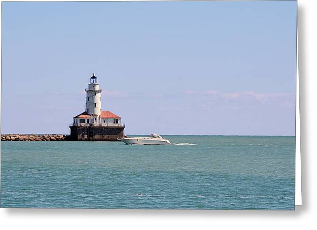 Chicago Light House With Boat In Lake Michigan Greeting Card by Christine Till