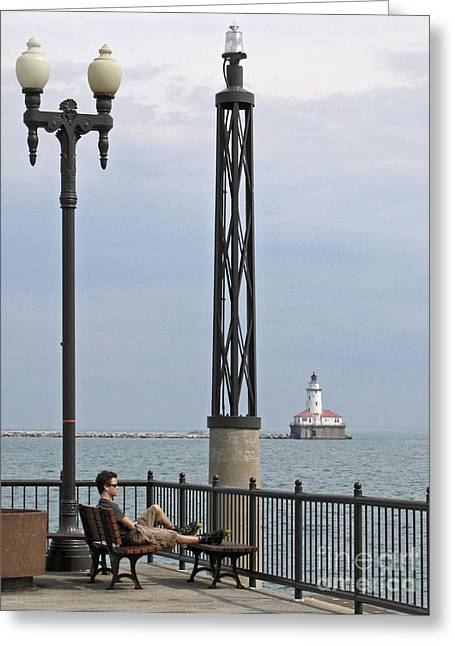 Chicago Lights Greeting Card by Ann Horn