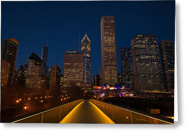 Chicago Lights Greeting Card by Steve Gadomski