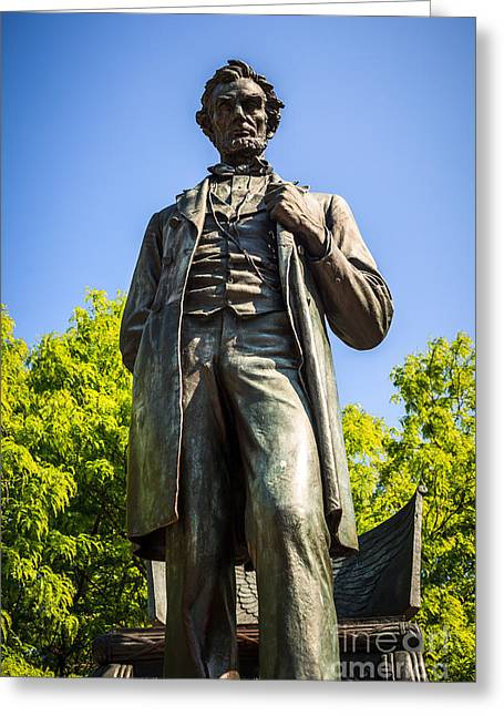 Chicago Lincoln Standing Statue Named The Man Greeting Card by Paul Velgos