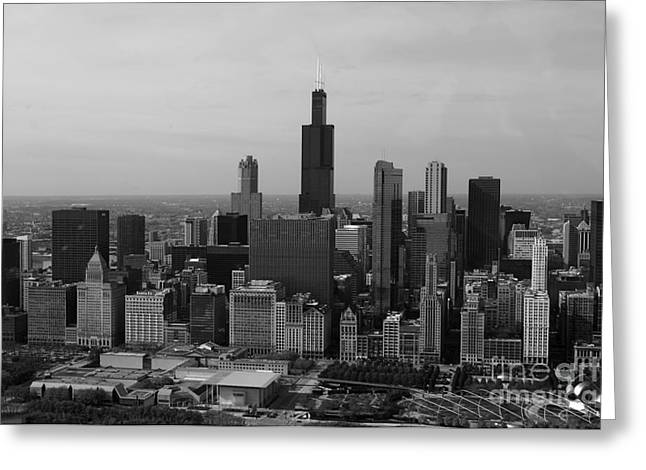 Chicago Looking West 01 Black And White Greeting Card by Thomas Woolworth