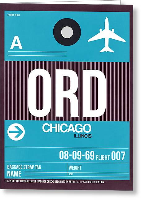 Chicago Luggage Poster 1 Greeting Card by Naxart Studio