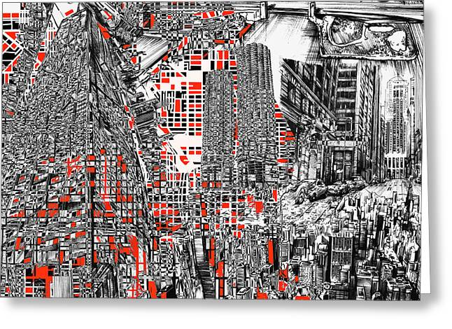 Chicago Map Abstract Greeting Card