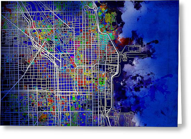 Chicago Map Blue Version Greeting Card