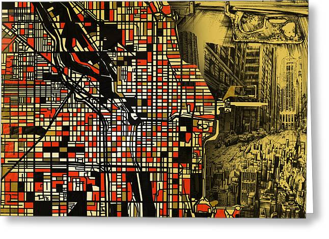 Chicago Map Drawing Collage 2 Greeting Card