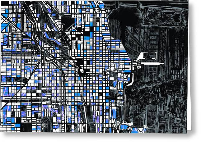Chicago Map Drawing Collage 3 Greeting Card