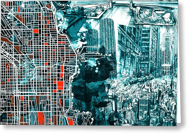 Chicago Map Drawing Collage Greeting Card