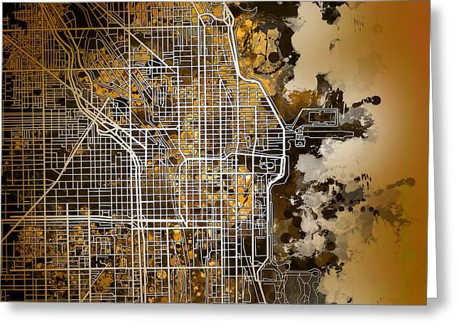Chicago Map Orange Version Greeting Card