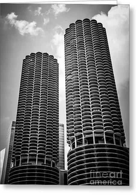 Chicago Marina City Towers In Black And White Greeting Card by Paul Velgos