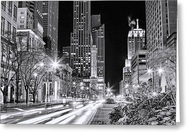 Chicago Michigan Avenue Light Streak Black And White Greeting Card