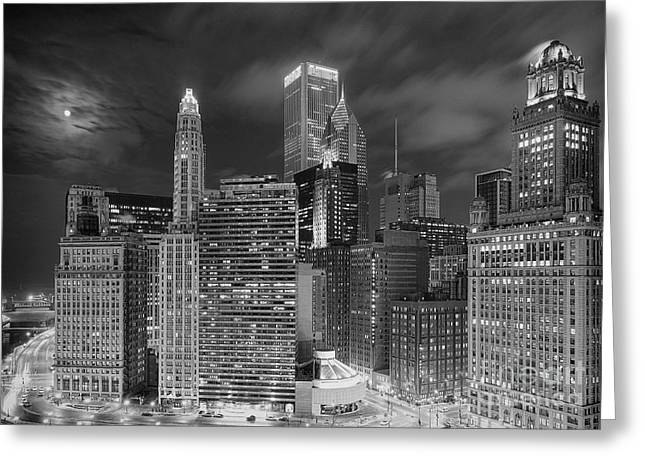 Chicago Moonlight Greeting Card by Jeff Lewis