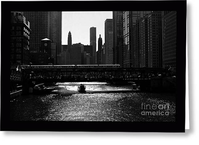 Chicago Morning Commute - Monochrome Greeting Card