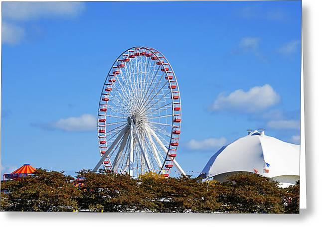 Chicago Navy Pier Ferris Wheel Greeting Card by Christine Till