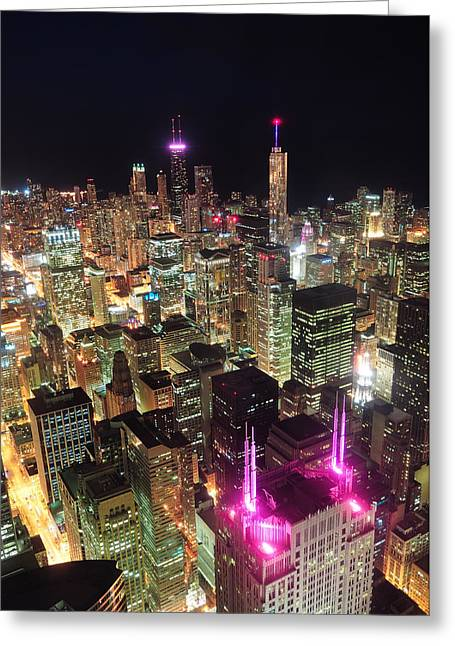 Chicago Night Aerial View Greeting Card