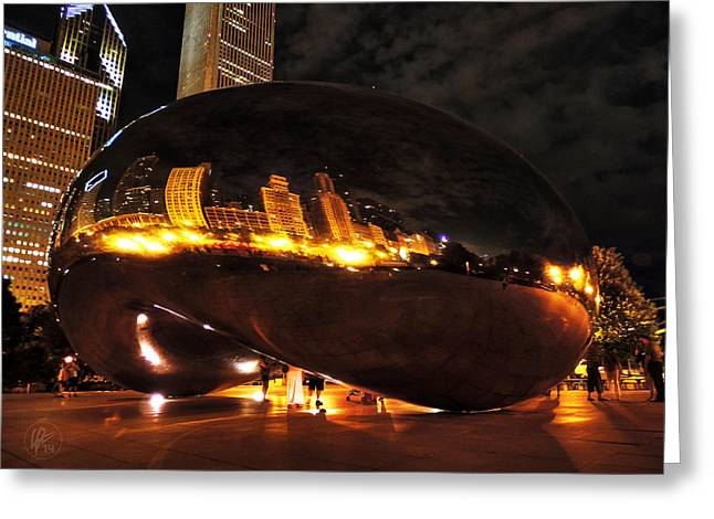 Chicago Night At Cloud Gate 001 Greeting Card by Lance Vaughn