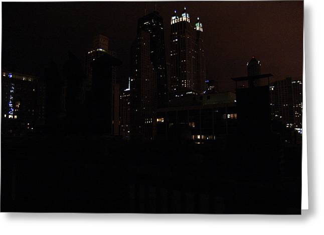 Chicago Night From Roof Greeting Card by Mieczyslaw Rudek