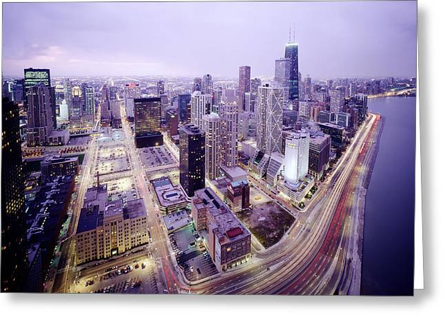 Chicago Night Greeting Card by Jon Neidert