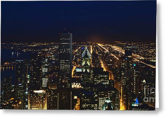 Chicago Night Lights Greeting Card