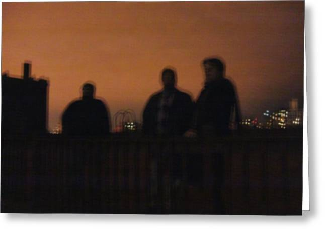 Chicago Night With People On Roof Greeting Card