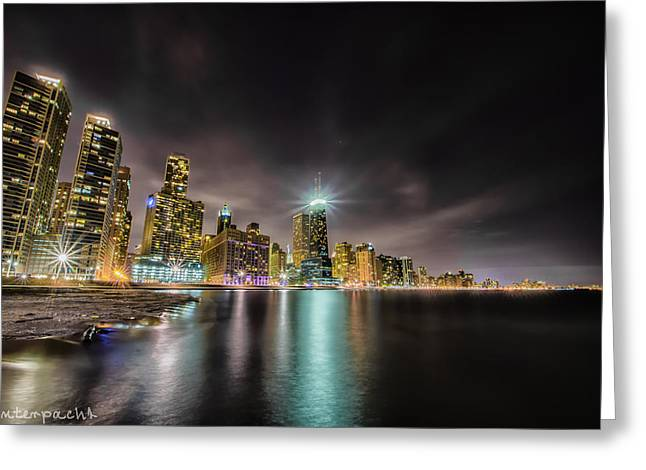 Chicago Nightscape Greeting Card by Raf Winterpacht