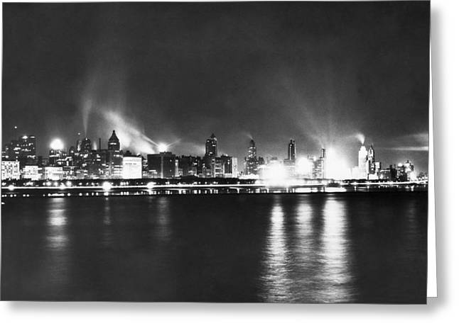 Chicago Nighttime Skyline Greeting Card by Underwood Archives