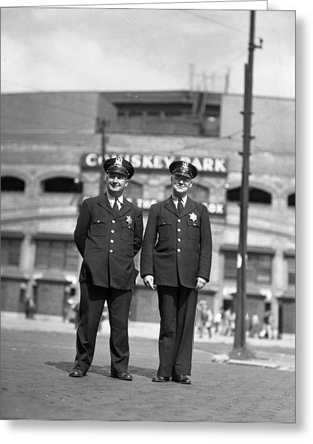 Chicago Officers At Comiskey Greeting Card by Retro Images Archive