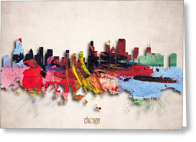 Chicago Painted City Skyline Greeting Card