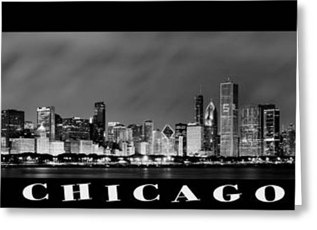 Chicago Panorama At Night Greeting Card by Sebastian Musial