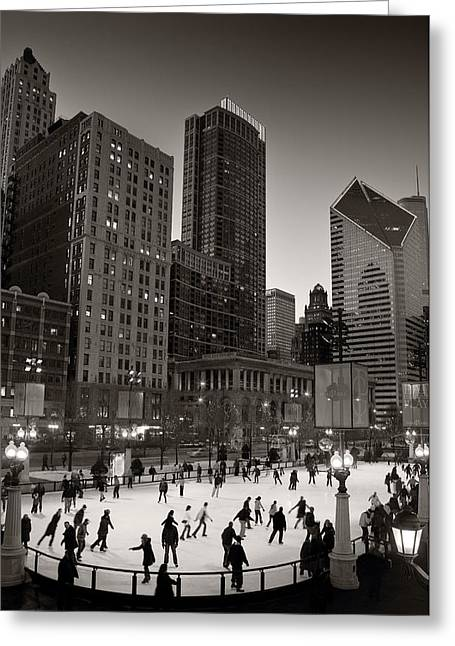 Chicago Park Skate Bw Greeting Card by Steve Gadomski