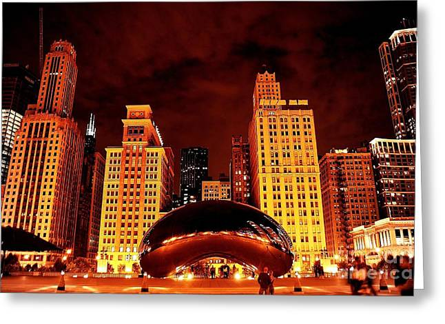 Chicago Photography - The Bean At Night Greeting Card by Gene Mark