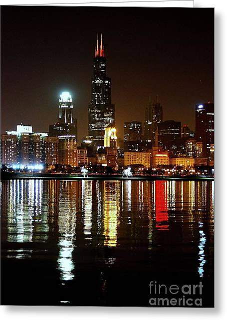 Chicago Photography - Willis Tower At Night Greeting Card by Gene Mark