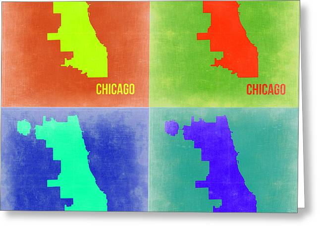 Chicago Pop Art Map 2 Greeting Card