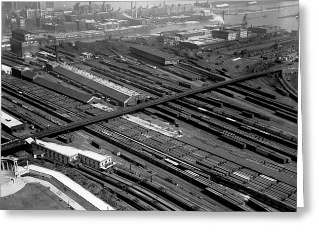 Chicago Railroad Yards Greeting Card by Underwood Archives