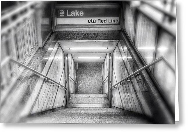 Chicago Lake Cta Red Line Stairs Greeting Card