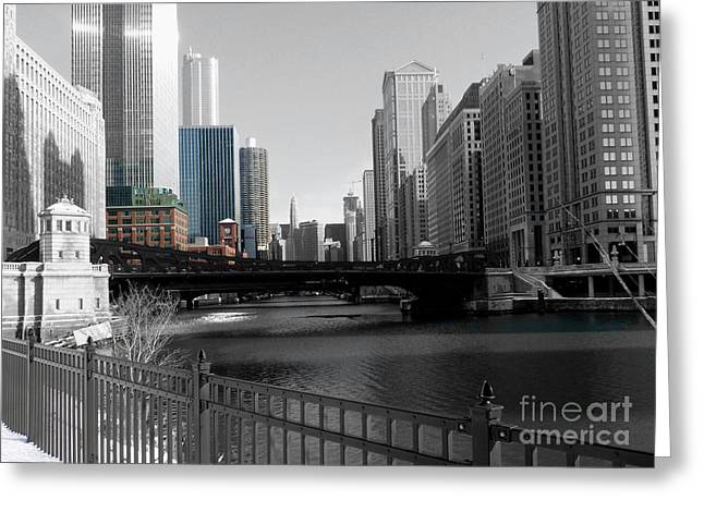 Chicago River At Franklin Street Greeting Card by David Bearden