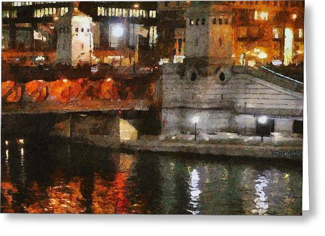 Chicago River At Michigan Avenue Greeting Card by Jeff Kolker
