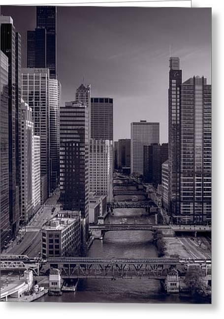 Chicago River Bridges South Bw Greeting Card by Steve Gadomski
