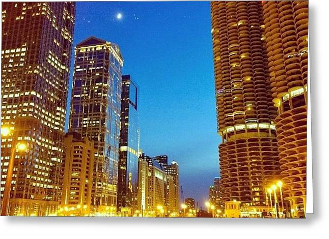 Chicago River Buildings At Night Taken Greeting Card