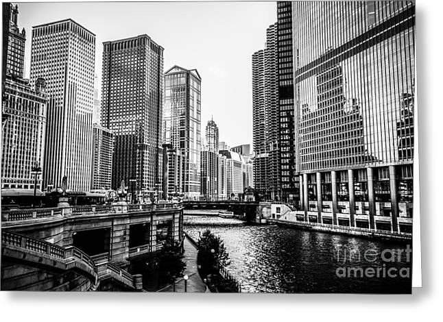 Chicago River Buildings In Black And White Greeting Card