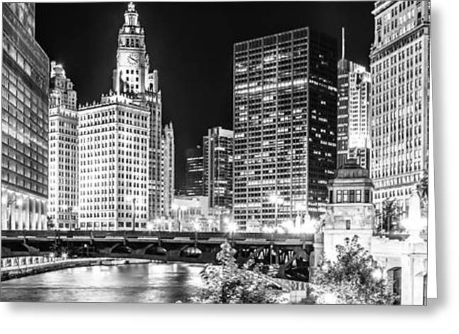 Chicago River Cityscape Panorama Photo With Wabash Bridge  Greeting Card
