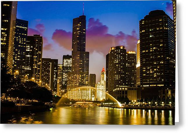 Chicago River Dusk Scene Greeting Card