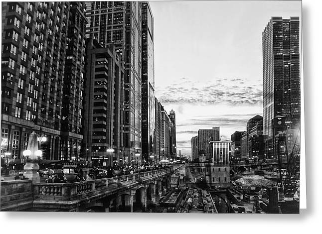 Chicago River Hdr Bw Greeting Card