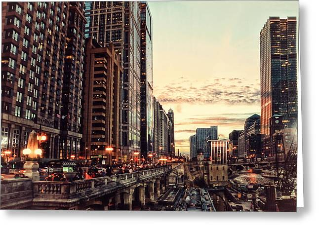 Chicago River November Hdr Greeting Card by Thomas Woolworth