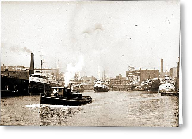 Chicago River Scene With Steamboat And Industrial Greeting Card