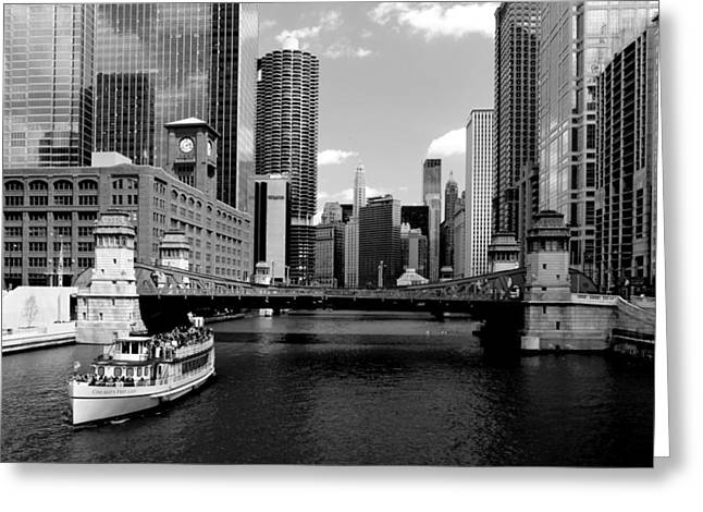 Chicago River Skyline Bridge Boat Greeting Card
