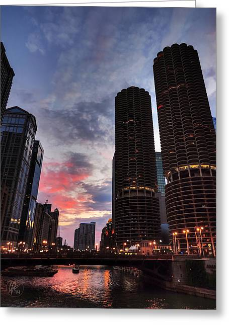 Chicago River Sunset 003 Greeting Card by Lance Vaughn