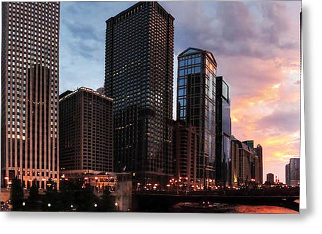 Chicago River Sunset Pano 001 Greeting Card by Lance Vaughn
