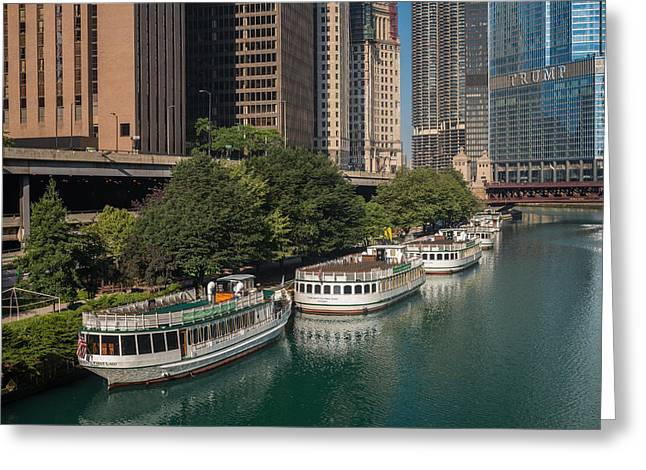 Chicago River Tour Boats Greeting Card by Steve Gadomski
